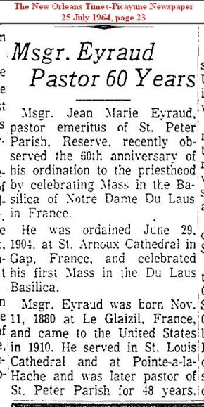 Msgr Eyaud 60th Anniversary Article 1964 ( 2 )
