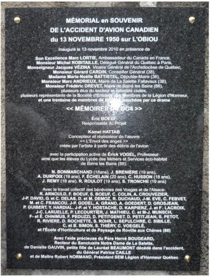 Plaque commémoration Obiou